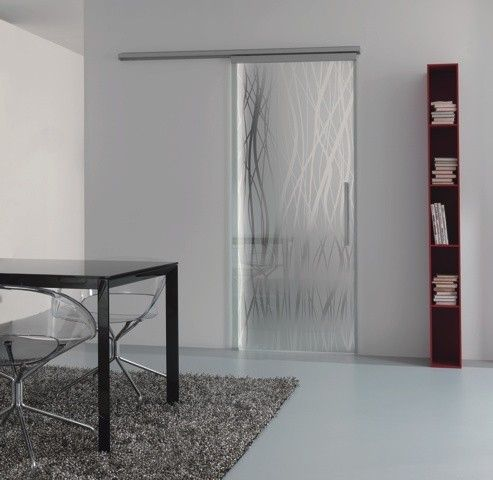 Porte coulissante en verre